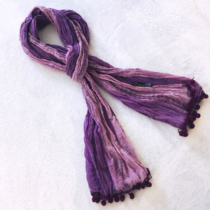 Pink and Purple Pearl Scarf with Pom Poms
